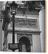 Arc De Triomphe - Black And White Wood Print