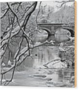 Arch Bridge Over Frozen River In Winter Wood Print