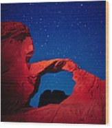 Arch In Red And Blue Wood Print
