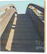 Arched Pedestrian Bridge At Martinez Regional Shoreline Park In Martinez California . 7d10526 Wood Print