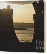 Arcs Sunset Bernar Venet Sculpture Sunset Beach Park Vancouver Bc Canada Wood Print