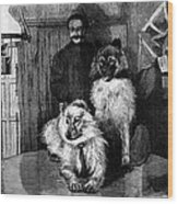 Arctic Explorer And Dogs, 19th Century Wood Print by