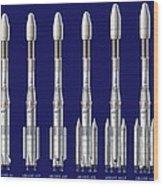 Ariane 4 Rocket Versions, Artwork Wood Print by David Ducros