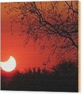 Arizona Eclipse At Sunset Wood Print
