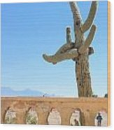 Arizona Wall With Saguaro Wood Print