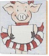 Arkansas Razorback Cheer Piggy Wood Print by Annie Laurie