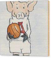 Arkansas Razorbacks - Basketball Piggie Wood Print by Annie Laurie