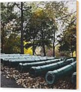 Army Cannons In A Row Wood Print by Army Athletics