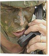 Army Master Sergeant Communicates Wood Print