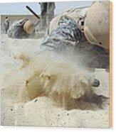 Army Soldier Pulls Himself Wood Print