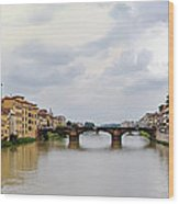 Arno River In Florence Italy Wood Print