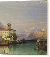 Arona And The Castle Of Angera Lake Maggiore Wood Print