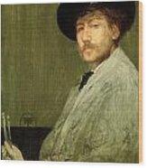 Arrangement In Grey - Portrait Of The Painter Wood Print by James Abbott McNeill Whistler