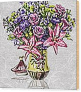 Arrangement In Pink And Purple On Rice Paper Wood Print