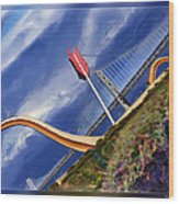 Arrow Through Bay Bridge Wood Print