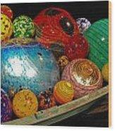 Art Glass Balls In Boat Wood Print