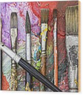 Art Is Messy 6 Wood Print by Carol Leigh