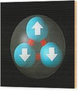 Art Of A Neutron Showing Constituent Quarks Wood Print by Laguna Design