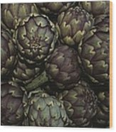 Artichokes At A Market In Provence Wood Print