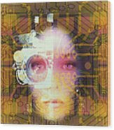 Artificial Intelligence: Face And Circuit Board Wood Print by Mehau Kulyk