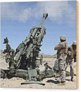 Artillerymen Fire-off A Round Wood Print