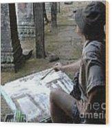 Artist At Ankor Wat Wood Print