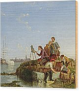 Artist At His Easel And Shipping Beyond Wood Print
