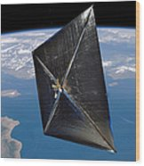 Artist Concept Of Nanosail-d In Space Wood Print