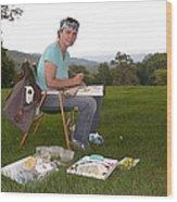 Artist In Action En Plein Air Wood Print
