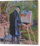 Artiste At Luxembourg Gardens Wood Print