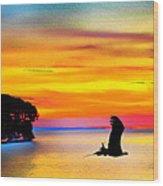 Artistic Conception Eagle Sundown Wood Print
