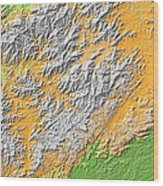 Artistic Map Of Southern Appalachia Wood Print