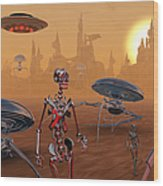 Artists Concept Of Life On Mars Long Wood Print
