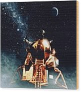 Artwork Of Apollo 11 Lunar Module On The Moon Wood Print