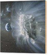 Artwork Of Comet Approaching Earth Wood Print