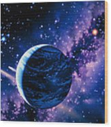 Artwork Of Comets Passing The Earth Wood Print by Joe Tucciarone