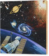 Artwork Of Hubble Space Telescope Over Earth Wood Print