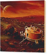 Artwork Of Huygens Probe On The Surface Of Titan Wood Print