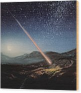 Artwork Of Meteorite Hitting The Ground Wood Print