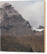 Ash And Gas Rising From Lava Dome Wood Print by Richard Roscoe