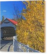 Ashuelot Covered Bridge And Forsythia Wood Print