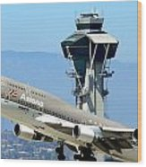 Asiana 747-400 And Lax Tower Wood Print