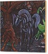 Asil At The Forest Lord's Midnight Gathering In Shitaki Wood Print by Al Goldfarb