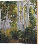 Aspen Grove Wood Print by Victoria  Broyles