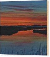 Assateague Bayside Sunset Wood Print