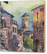 Assisi Street Scene Wood Print by Lydia Irving