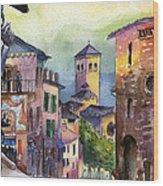 Assisi Street Scene Wood Print