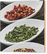 Assorted Herbal Wellness Dry Tea In Bowls Wood Print