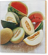 Assortment Of Melons Wood Print by David Munns