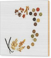 Assortment Of Spices Wood Print
